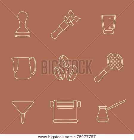 outline coffee barista instruments icons set