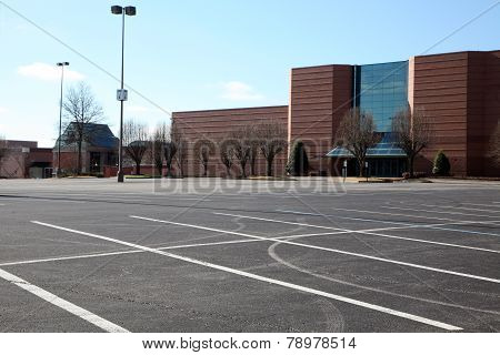 Empty parking lot at a shopping mall.