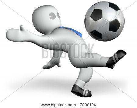 A Footballer Shoots A Goal