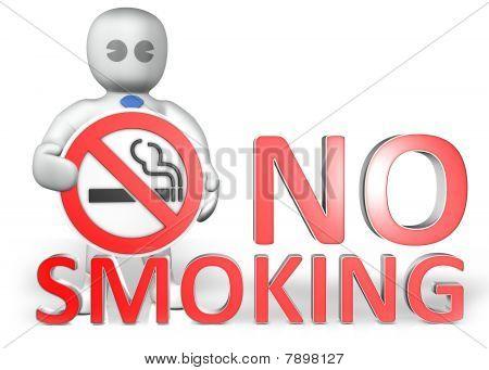A Man With A No Smoking Warning