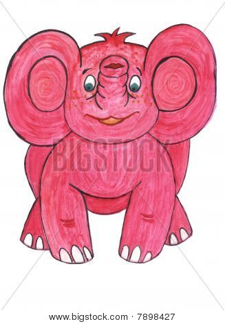 funny pink baby elephant, watercolors kids drawing poster