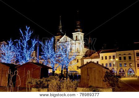 Christmas Decorated Town In Night Jihlava