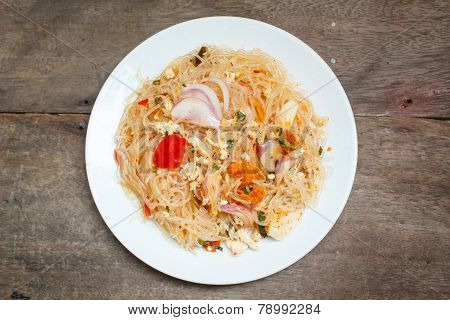 spicy noodle salad spicy vermicelli salad (yum woon sen). poster