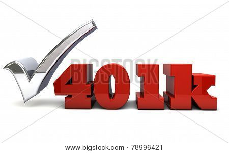 The word 401k rendered in 3D letters with a shinny check mark poster