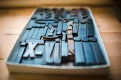 Old wooden printing type.  font characters for craftman typography poster