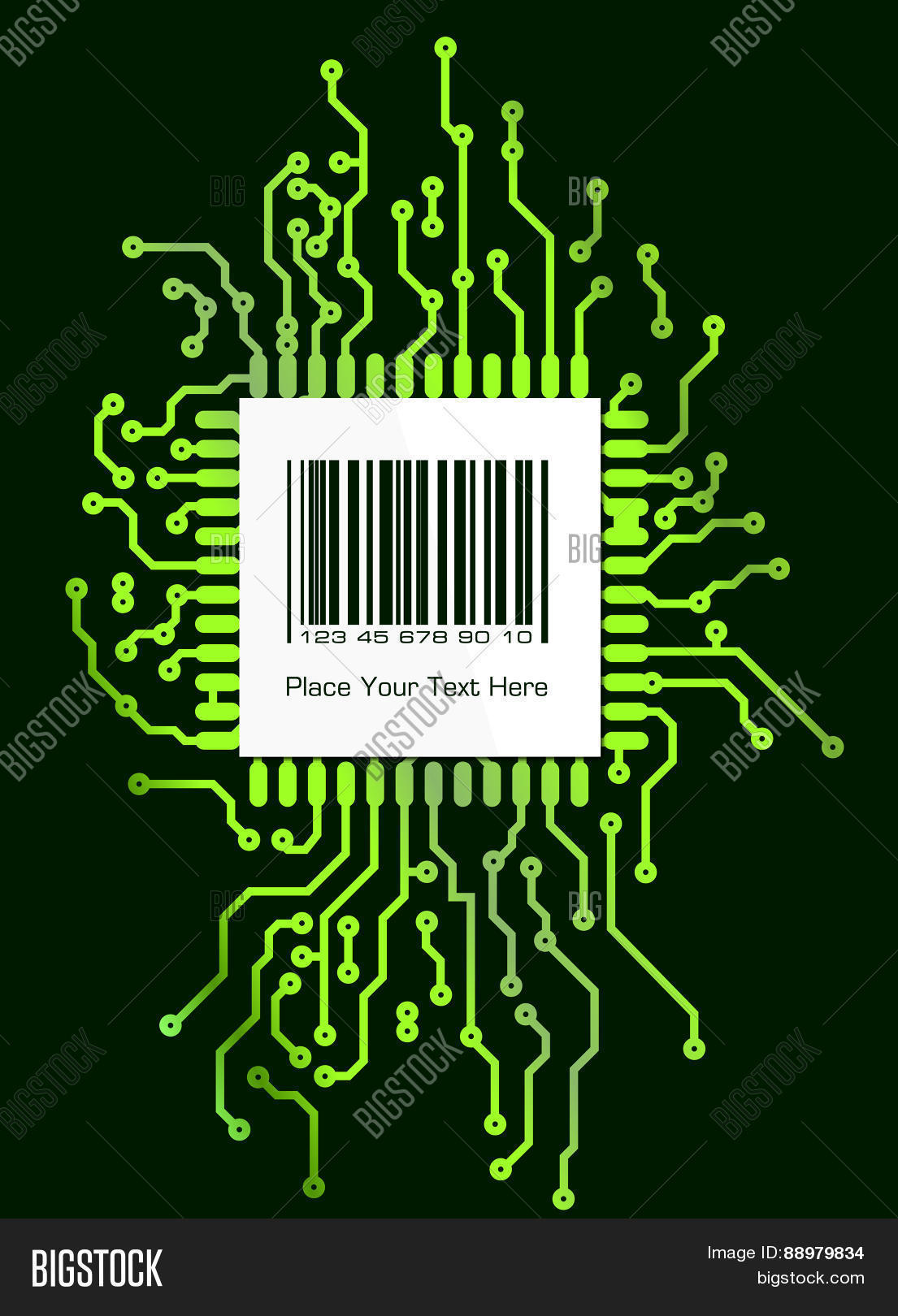 Barcode Label On Vector Photo Free Trial Bigstock Circuit Board Design Over Green Background Illustration In Pcb Layout Style For Your