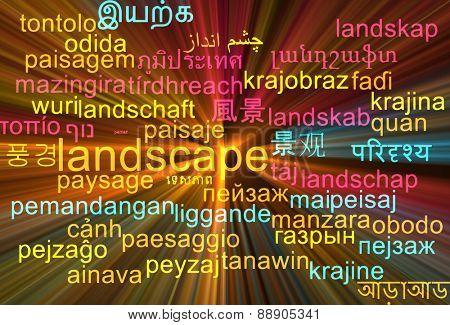 Background concept wordcloud multilanguage international many language illustration of landscape glowing light