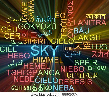 Background concept wordcloud multilanguage international many language illustration of sky glowing light