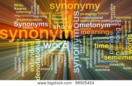 Background text pattern concept wordcloud illustration of synonym term glowing light