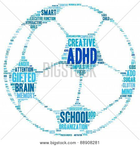 ADHD and Sports Ball Shaped Word Cloud