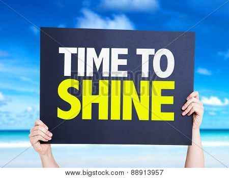 Time to Shine card with beach background poster