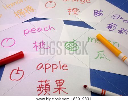 Making language flash cards for fundamental words; apple lemon peach melon grape and orange. poster