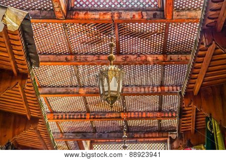 Moroccan Lantern And Cedar Wood Carved Ceiling