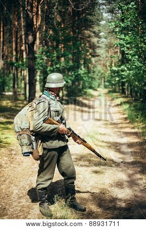Unidentified re-enactor dressed as German soldier during march t