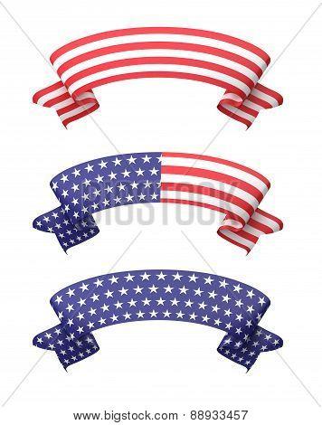 Star Striped Ribbon Banners Set.