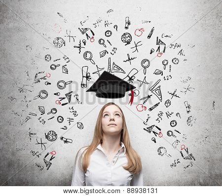Young Beautiful Business Woman Is Thinking About Education At Business School. Drawn Business Icons