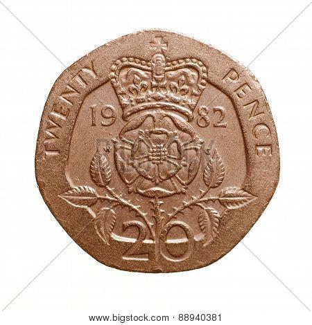 Retro Look Twenty Pence Coin