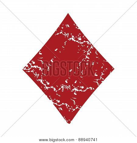 Red grunge diamonds card logo