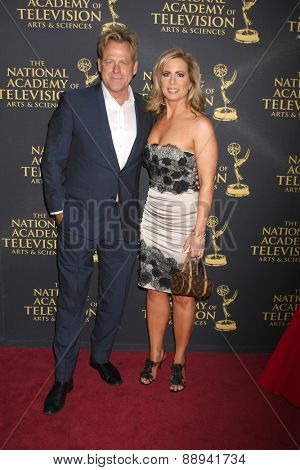 LOS ANGELES - FEB 24:  Kin Shriner, Martha Byrne at the Daytime Emmy Creative Arts Awards 2015 at the Universal Hilton Hotel on April 24, 2015 in Los Angeles, CA
