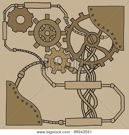 Mechanism background with cogwheels and gears