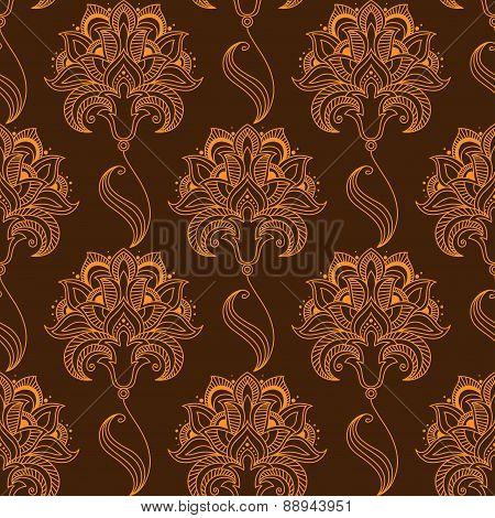 Oriental stylized paisley flourish seamless pattern