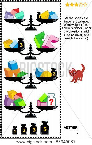 Math puzzle with scales, weights, cubes, arches and half-cubes