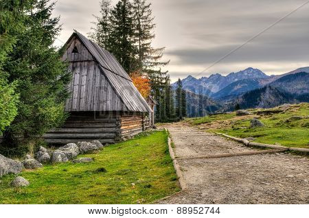 Wooden Hut In Mountains