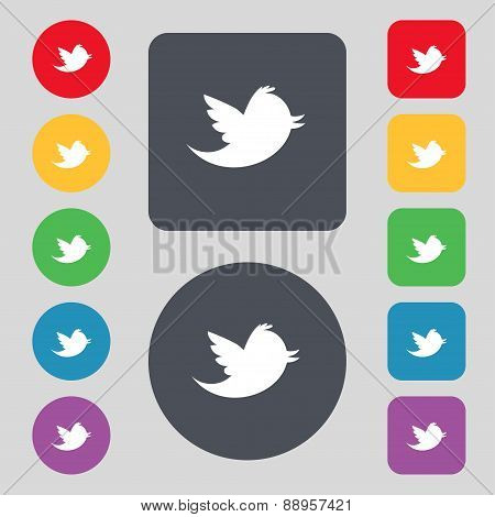 Social Media, Messages Twitter Retweet Icon Sign. A Set Of 12 Colored Buttons. Flat Design. Vector
