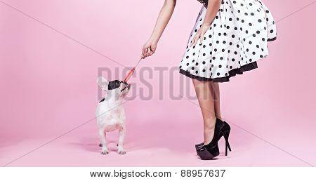 Pinup Woman With Pug Dog.