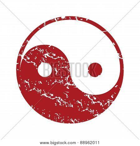 Red grunge Taoism logo