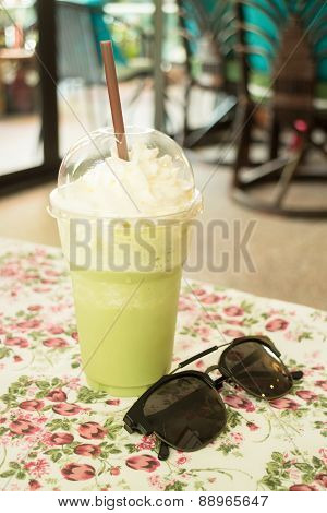 Glass Of Green Tea Latte Frappe