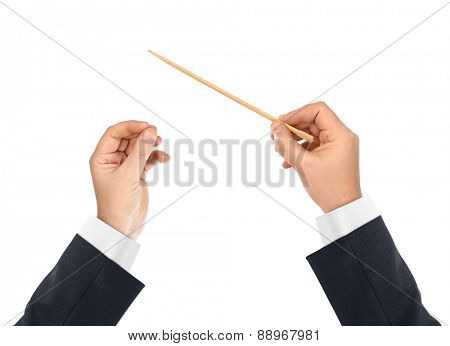 Music conductor hands isolated on white background