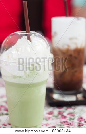 Macha Green Tea With Whipped Cream