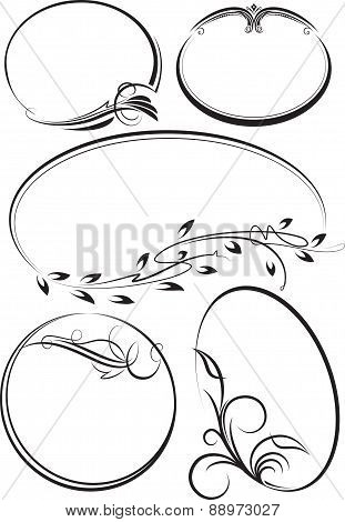 Beautiful collection of oval frames. Vector illustration for your design.