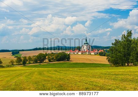Beautiful renaissance era castle with Roundel pavilon in Jindrichuv Hradec was built in 16th century and is located on the hill near the river Nezarka. Czech Republic