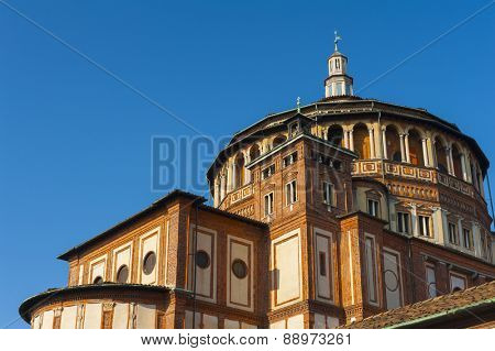 "Beautiful church Santa Maria delle Grazie is the place where can be found famous fresco of Leonardo da Vinci ""Last Supper"". Milan, Italy poster"