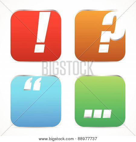 Punctuation Mark Icons. Exclamation Point, Question Mark, Quote Mark And Ellipses. Metallic 3D Effec