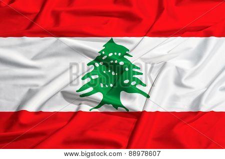 Lebanon Flag On A Silk Drape Waving