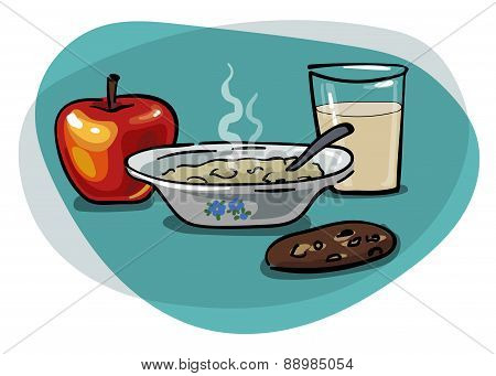 Breakfast With Oatmeal And Apple