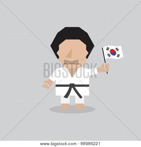 Taekwondo Man With South Korean Flag.
