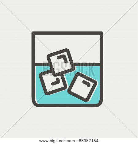 Glass of water with ice thin line icon