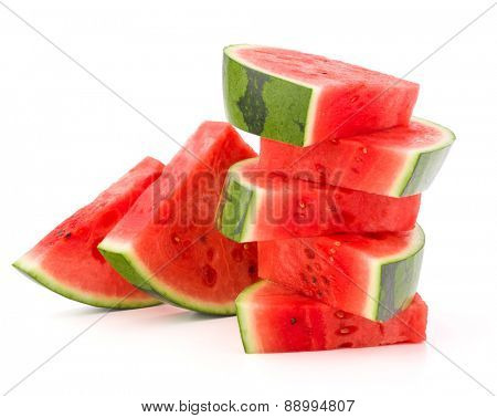 Sliced ripe watermelon isolated on white background cutout poster