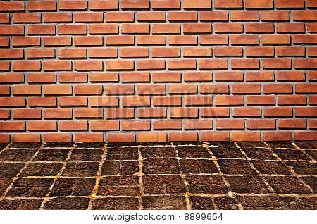 Brickwall And Old Stone Floor Pattern