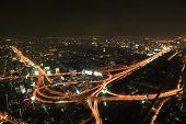 Bangkok Expressway and Highway top view at night Thailand poster