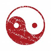 Red grunge Taoism logo on a white background. Vector illustration poster