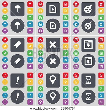 Umbrella, Media Play, Videotape, Marker, Stop, Window, Exclamation Mark, Checkpoint, Hourglass Icon