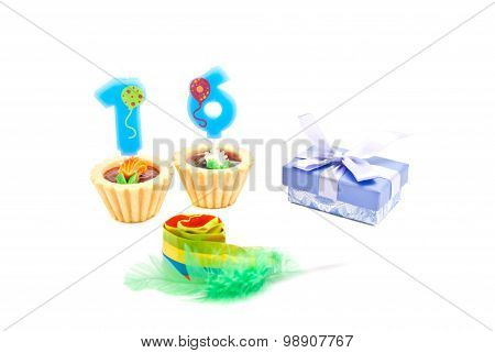 Cakes With Sixteen Years Birthday Candles, Whistle And Gift