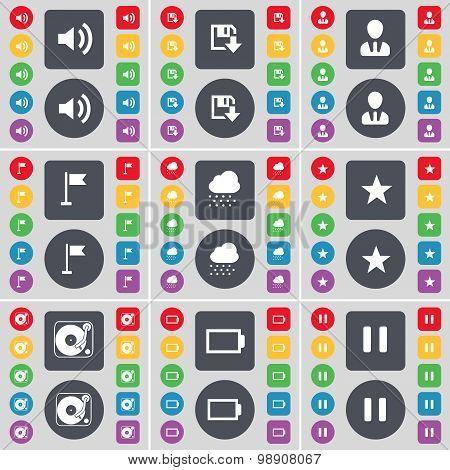 Sound, Floppy, Avatar, Golf Hole, Cloud, Star, Gramophone, Battery, Pause Icon Symbol. A Large Set O