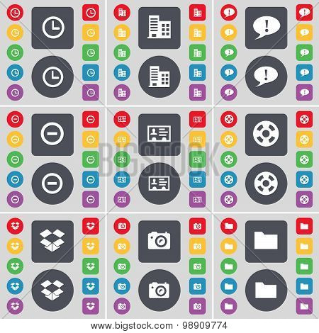 Clock, Building, Chat Bubble, Minus, Credit Card, Videotape, Dropbox, Camera, Folder Icon Symbol. A