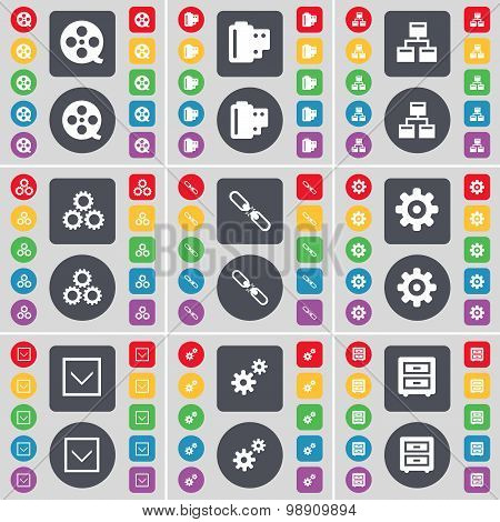 Videotape, Negative Films, Network, Gear, Link, Gear, Arrow Down, Bed-table Icon Symbol. A Large Set